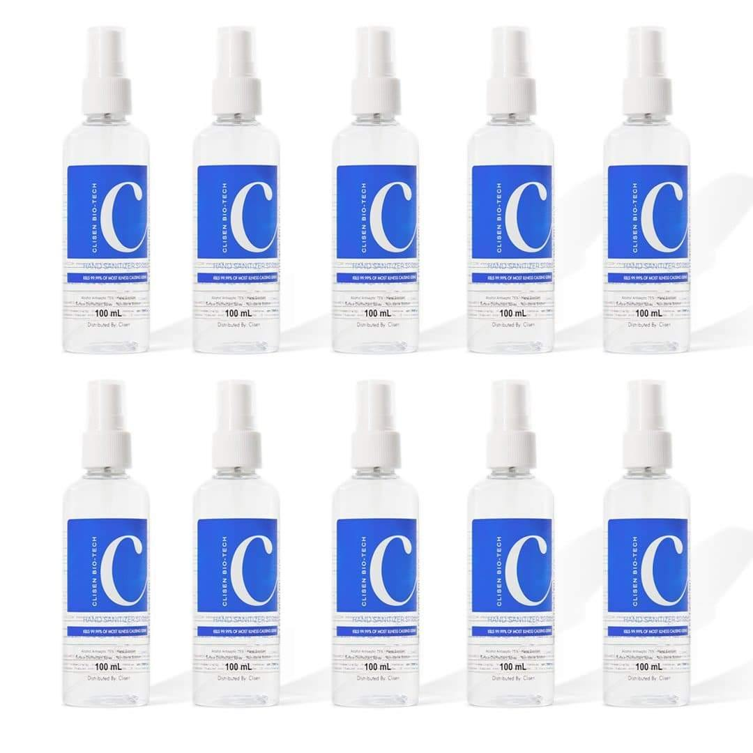 Clisen Alcohol Disinfectant Spray 75% Ethyl Solution (3.38oz) 10 pcs Value Pack