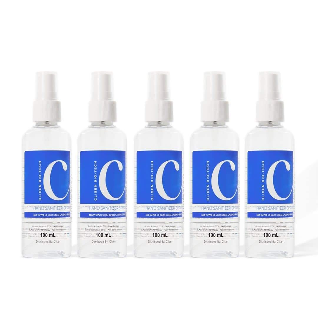 Clisen Alcohol Disinfectant Spray 75% Ethyl Solution (3.38oz) 5 pcs Value Pack