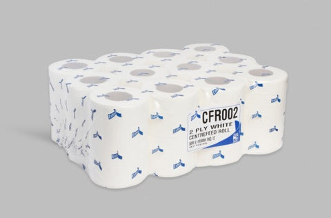 Mini Centrefeed 60m 2Ply White Pack Of 12 - Full Pallet