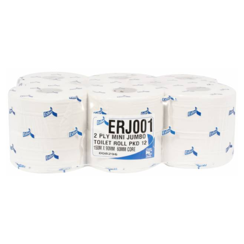 Mini Jumbo Toilet Roll 80mm Core 150M 2Ply White Pack Of 12