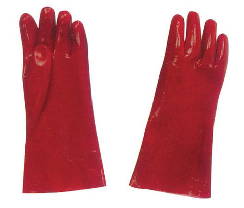 Gauntlet Glove Red PVC 35cm Pair