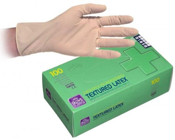 Latex Gloves Lightly Powdered Box Of 100 - NCSONLINE