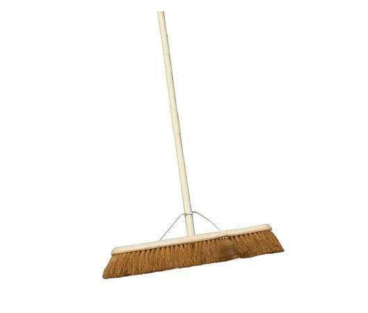 "Natural Coco Broom 12"" c/w 4' Handle - NCSONLINE"
