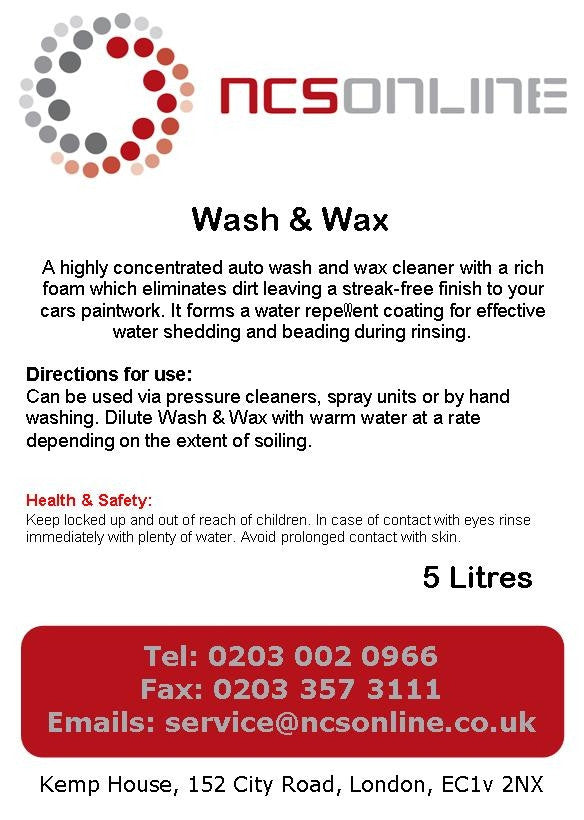Wash and Wax 5 Litres - NCSONLINE