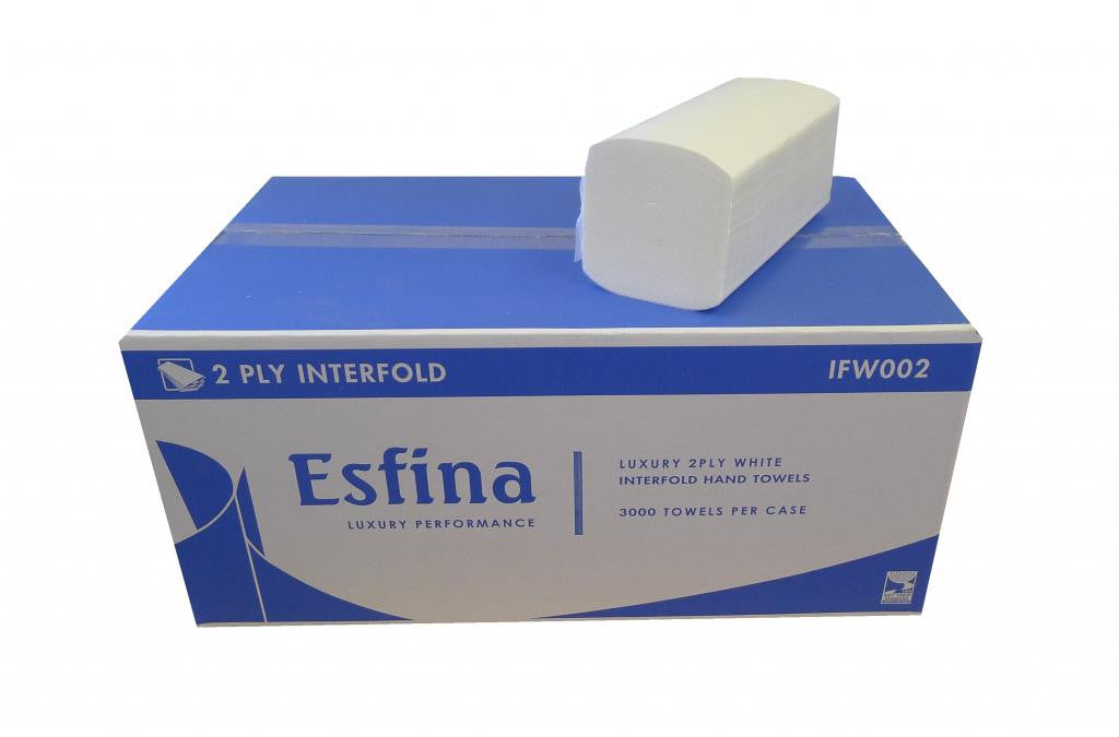 Interfold (I-Fold) 2Ply White Hand Towels x 3000 - NCSONLINE