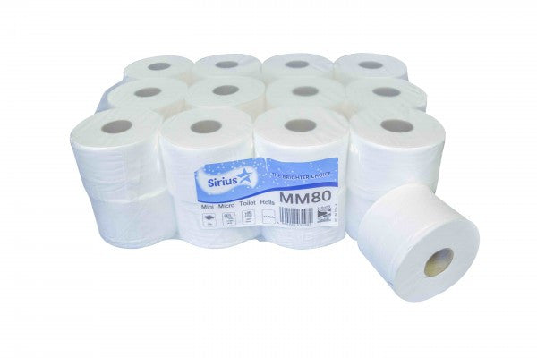 Micro Mini Jumbo Toilet Roll 100M 2Ply White Pack Of 24 - NCSONLINE