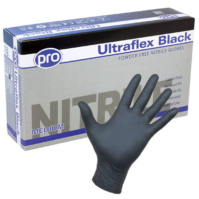 Black Ultragrip Black Nitrile Gloves x 100