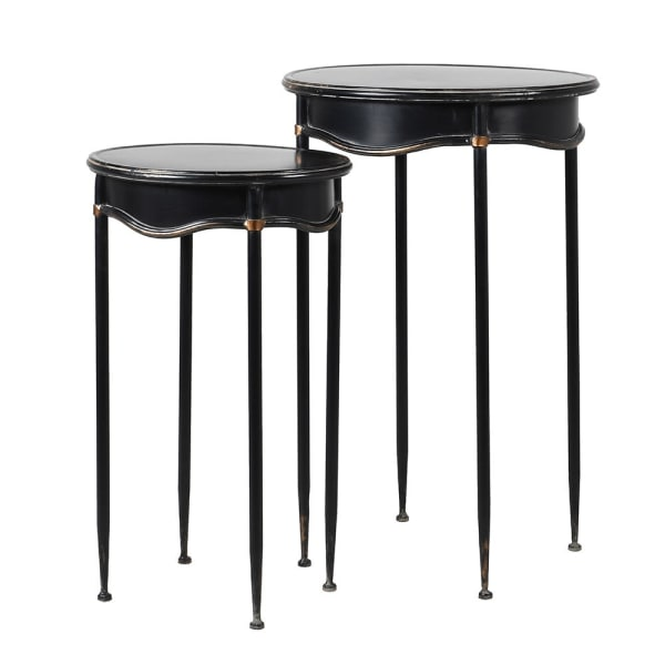 Set of 2 Black Curved Side Tables - Decor Interiors -  House & Home