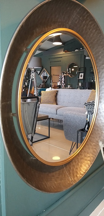 Gold Rim Hammered Mirror - Decor Interiors -  House & Home