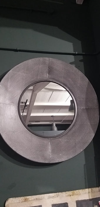Grey & White Round Metal Mirror - Decor Interiors -  House & Home