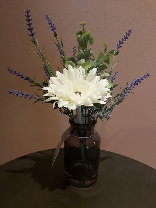 Faux Gerbera in Mini Funnel in a Clear Vase - Decor Interiors -  House & Home