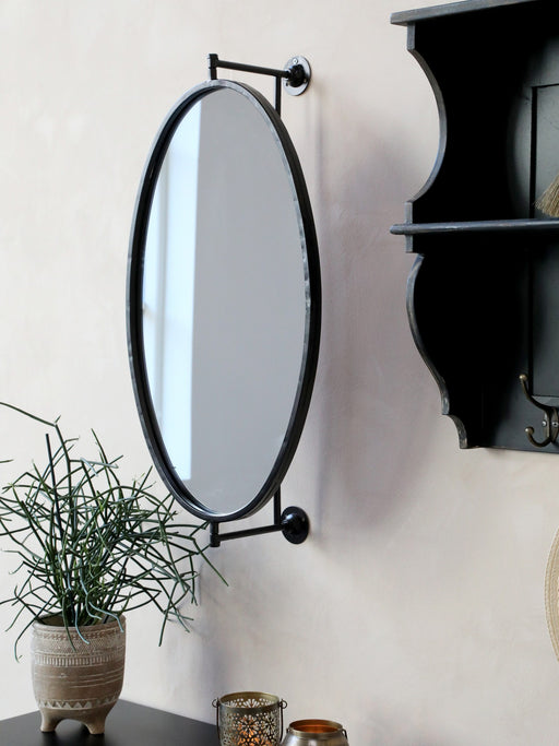 Antique Black Revolving Metal Mirror - Decor Interiors -  House & Home