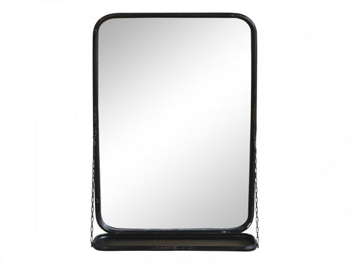 Antique Black Metal Mirror With Shelf - Decor Interiors -  House & Home