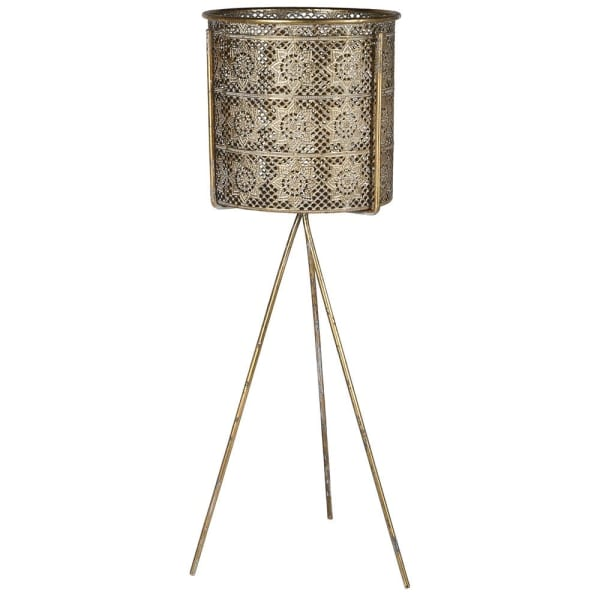 Filigree Gold Plant Pot & Stand - Decor Interiors -  House & Home