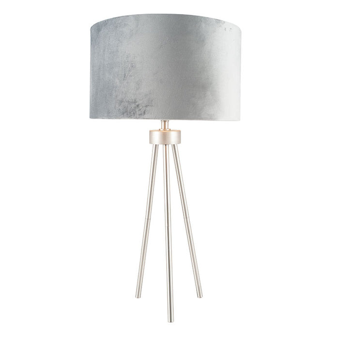 Brushed Silver Metal Tripod Table Lamp - Decor Interiors -  House & Home