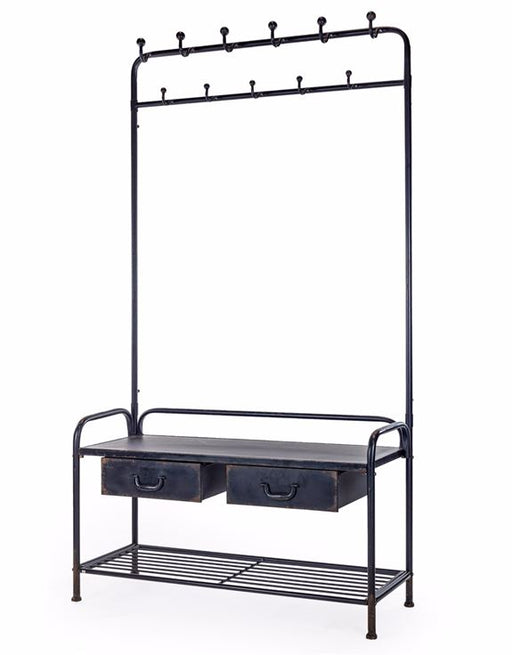 Industrial Black Metal Coat Rack Bench - Decor Interiors -  House & Home