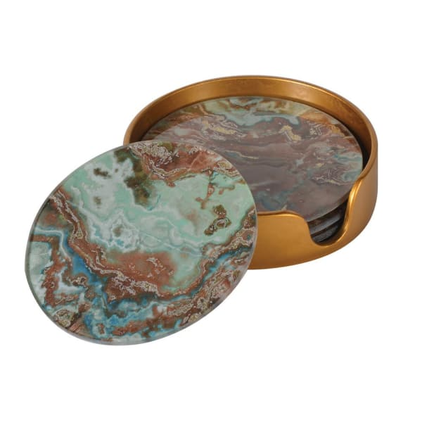 Set of Green Marble Effect Coasters - Decor Interiors -  House & Home