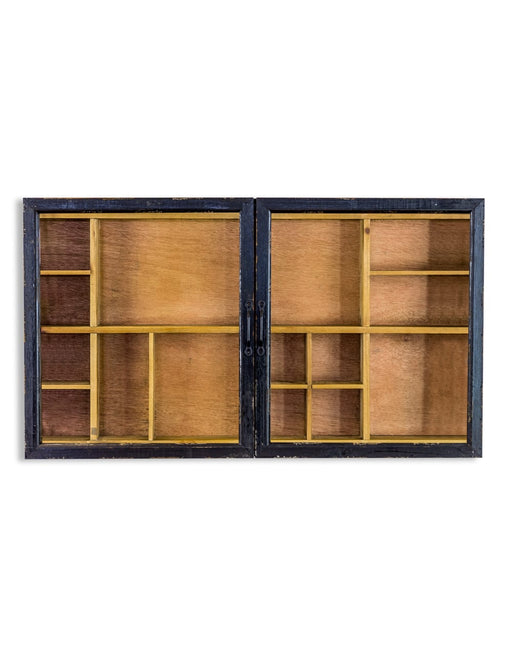 Distressed Wooden Black Double Sliding Door Wall Display Cabinet - Decor Interiors -  House & Home
