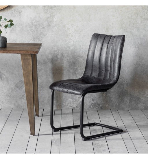 Beaufort Grey Faux Leather Ribbed Chair - Decor Interiors -  House & Home
