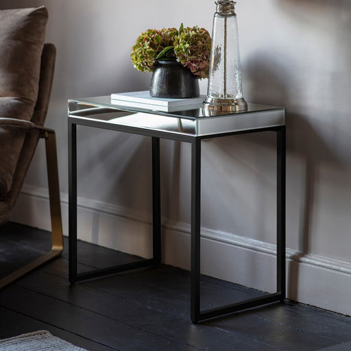 Amafi Mirror & Metal Side Table - Decor Interiors -  House & Home