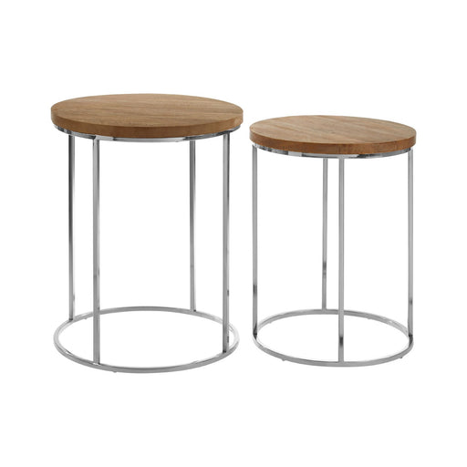 Moventa Mango Wood & Chrome Side Tables - Set of 2 - Decor Interiors -  House & Home