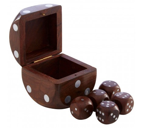 Sheesham Wood Dice Box - Decor Interiors -  House & Home