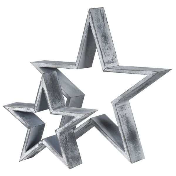DISTRESSED GREY WOODEN STARS - SET OF 2 - Decor Interiors -  House & Home