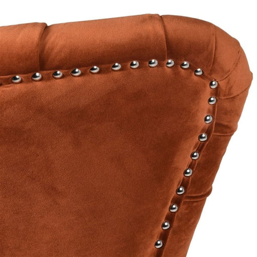 Wing Back Button Burnt Orange Chair - Decor Interiors -  House & Home