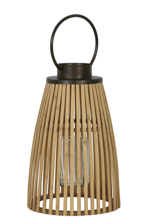 Natural Bamboo & Metal Lantern - 42 X 21 cms - Decor Interiors -  House & Home