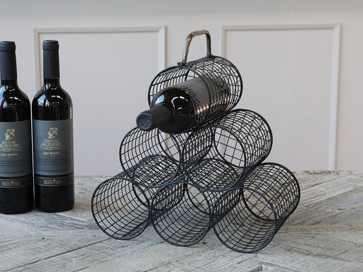 Black Wire 6 Bottle Wine Rack - Decor Interiors -  House & Home
