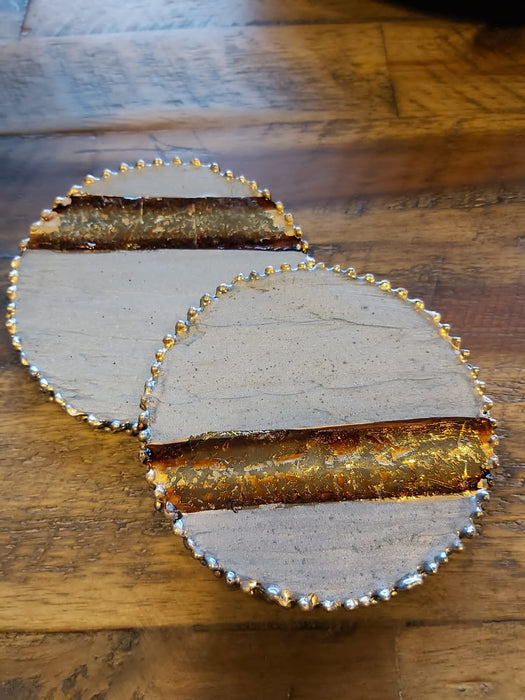 Set of 4 Grey & Gold Enamel Coasters - Decor Interiors -  House & Home