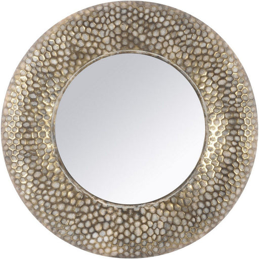 Maya Antique Gold Round Mirror with Honeycomb Detailing. - Decor Interiors -  House & Home