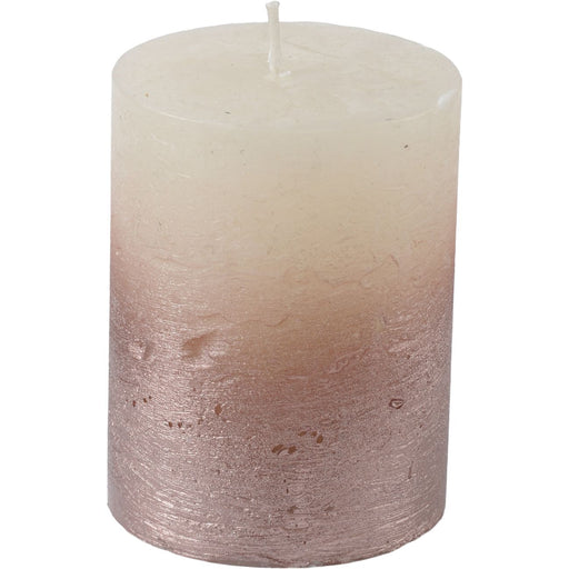White Pillar Candle With Metallic Pink Ombre 10 X 10 cms - Decor Interiors -  House & Home