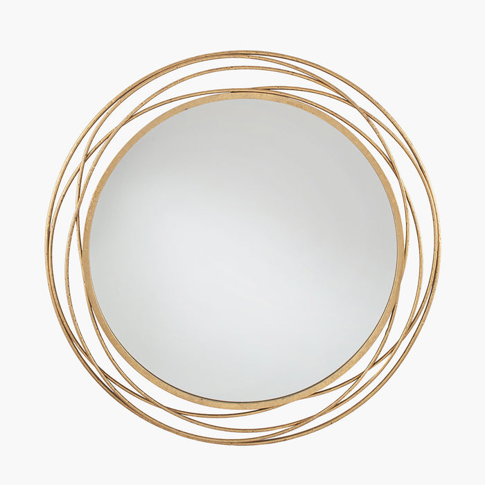 Antique Gold Metal Round Wall Mirror - Decor Interiors -  House & Home