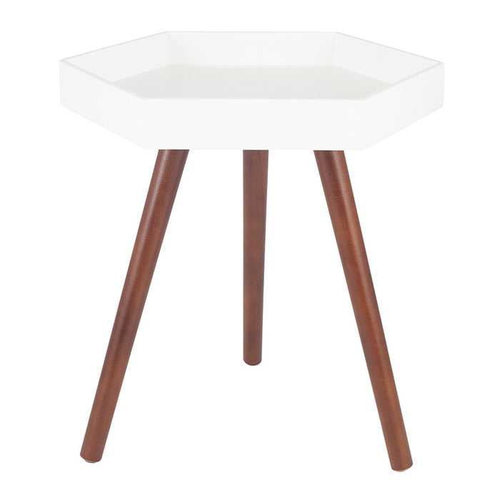 Hadston White MDF & Brown Pine Wood Hexagon Table - Decor Interiors -  House & Home