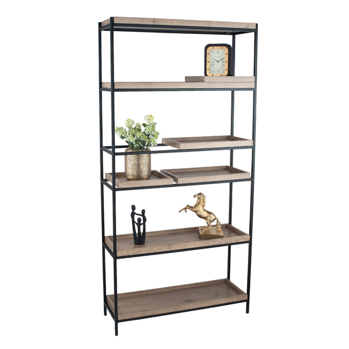 The Gallery Collection - Natural Wood Veneer & Black Metal 5 Shelf Unit - Decor Interiors -  House & Home