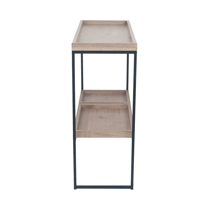 The Gallery Collection - Natural Wood Veneer & Black Metal 2 Shelf Unit - Decor Interiors -  House & Home