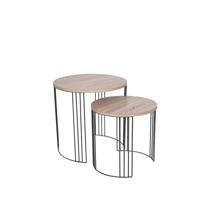 Dark Wood and Black Metal S/2 Round Side Tables - Decor Interiors -  House & Home