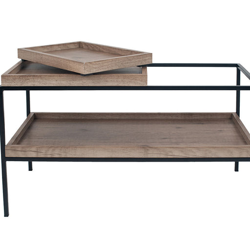 The Gallery Collection - Natural Wood Veneer & Black Metal Coffee Table - Decor Interiors -  House & Home