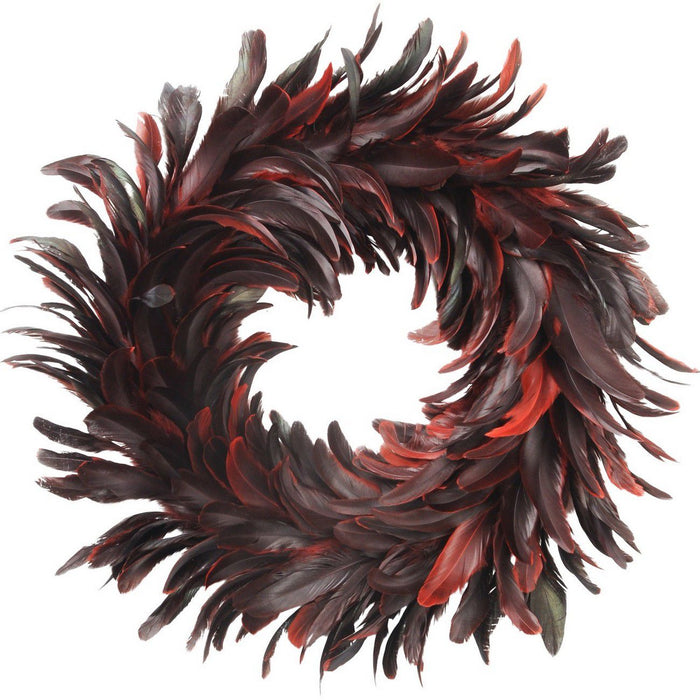 Red Feather Wreath - Decor Interiors -  House & Home