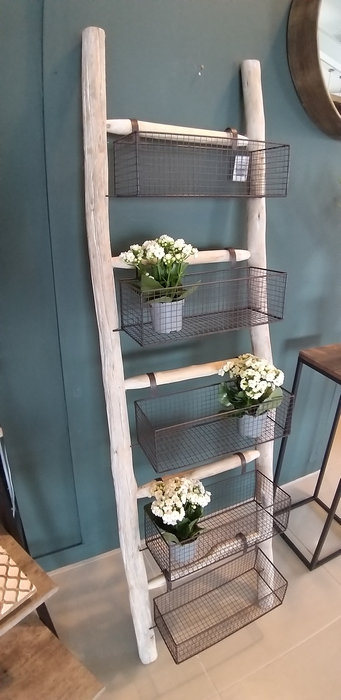 Rustic Ladders with 5 Wire Baskets - Decor Interiors -  House & Home