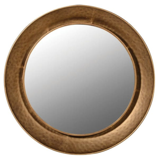 Gold Hammered Round Mirror - Decor Interiors -  House & Home