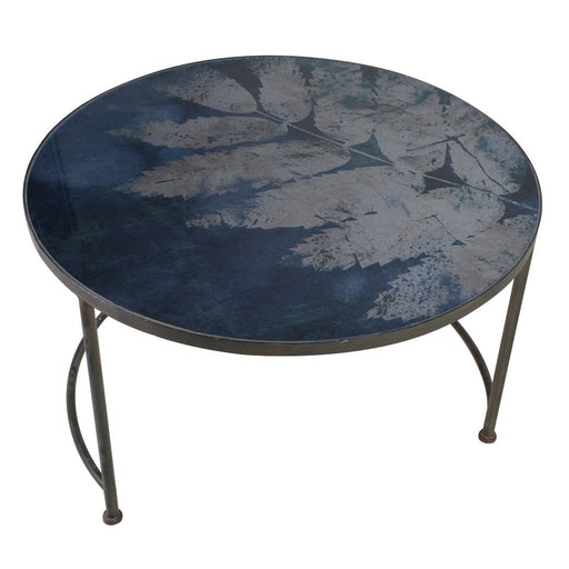 Blue Leaf Pattern Glass Top Coffee Table - Decor Interiors -  House & Home