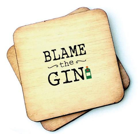 Blame the Gin - Wooden Coasters - Decor Interiors -  House & Home