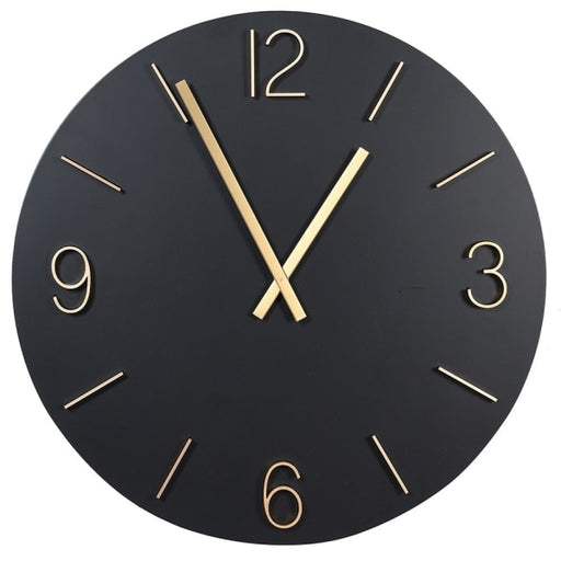 Round Black & Gold Metal Wall Clock - Decor Interiors -  House & Home