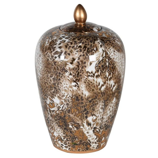 Leopard Design Lidded Jar ( Small ) - Decor Interiors -  House & Home
