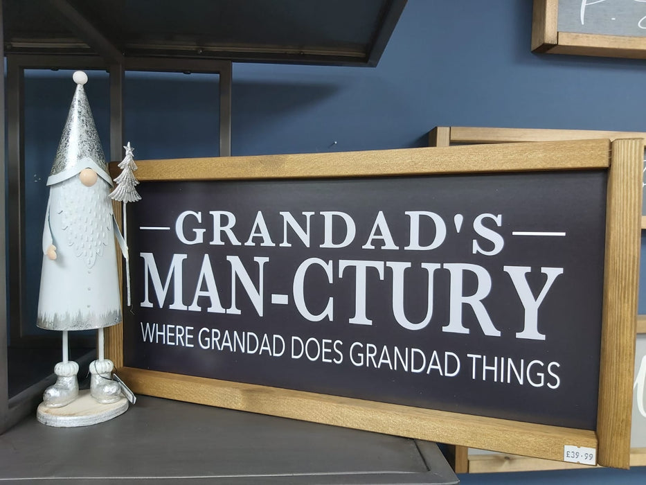 Rustic Handcrafted Signs - Grandad's Man-ctuary - Decor Interiors -  House & Home