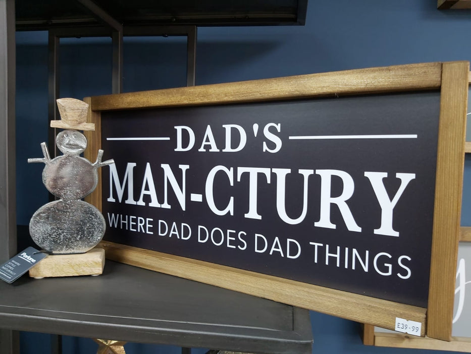 Rustic Handcrafted Signs - Dad's Man-ctuary - Decor Interiors -  House & Home