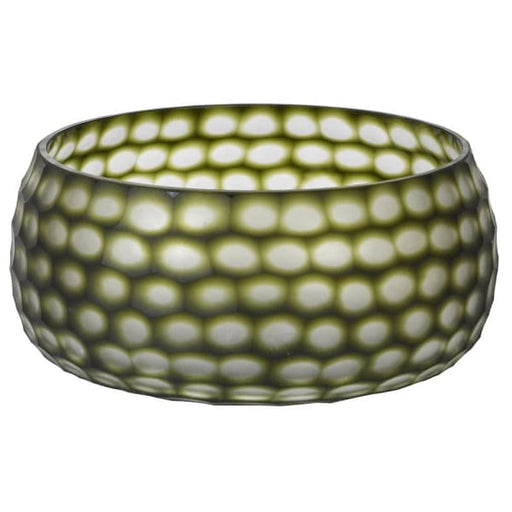 Olive Green Glass Bowl - Decor Interiors -  House & Home