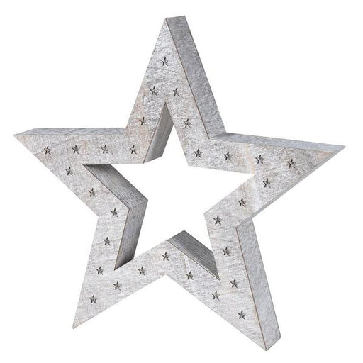 Large White Wash Wooden Star with lights - Decor Interiors -  House & Home